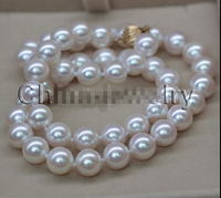 HOT## Wholesale AAA18 9mm natural white perfect round seawater akoya pearl necklace gold
