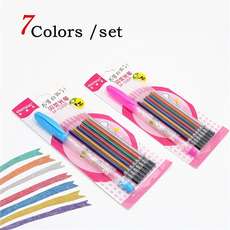 7colors Glitter Gel Pen Fluorescent 7-color Pen Set 1.0 Mm Gel Ink Refill School Kids Drawing Pen