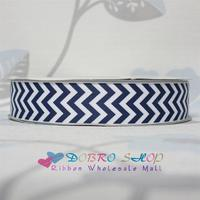 White with Navy Chevron Printed Grosgrain Ribbon Hot Sale 100Yards 1-1/2