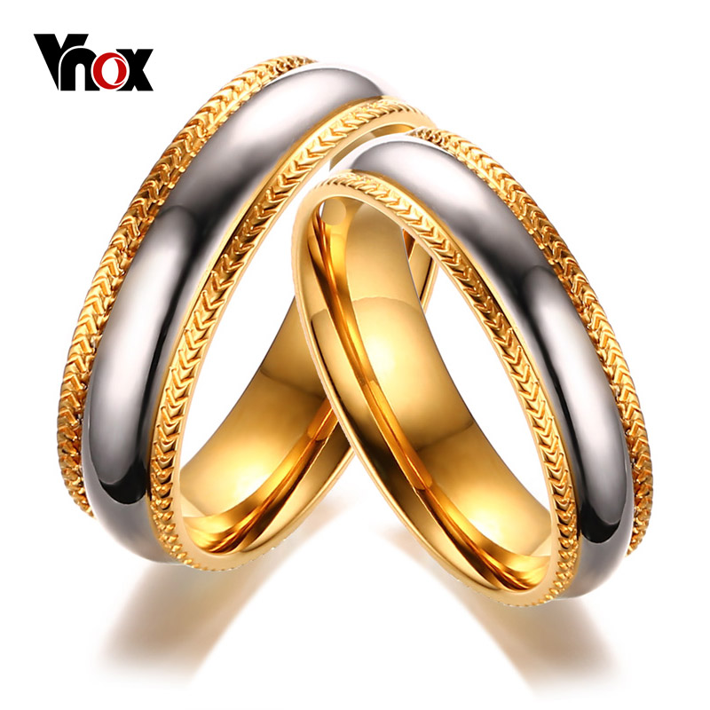 Vnox Gold-color Wedding Rings for Women Men Stainless Steel Unique Lines Design Alianca for Engagement Party Jewelry