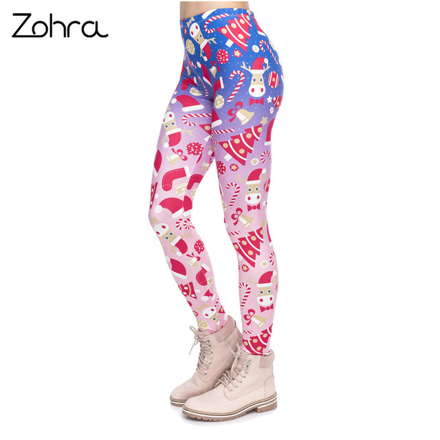 Zohra New Design Women Legging Christmas Symbols Ombre Printing Fitness Leggings High Waist Woman Pants 1
