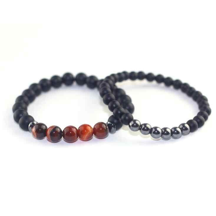 2018 New Design Couple Bracelets for Lovers Natural Stone Beads Bracelet for Men Women Heidan Stone Beaded Bracelet Black 1-2pcs