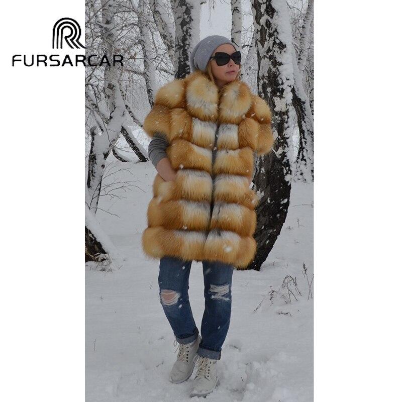 Luxe Naturel Épais Fursarcar Cm Femmes De 75 Avec Hiver Or Renard Femelle Manteau Veste Col Réel Fourrure Long 7cO5wgqO