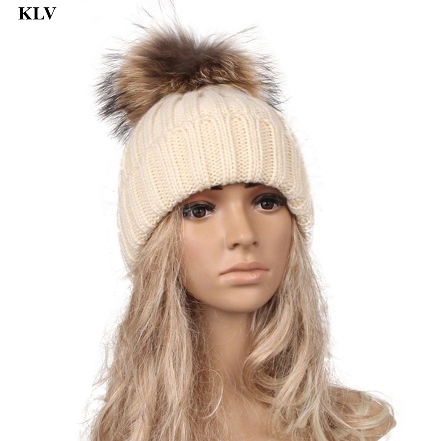 Autumn Winter Beanies Hat Knitted Wool Skullies Casual Cap with Real Fur Pompom Solid colors Ski Gorros Cap Oc6 wool skullies cap hat 10pcs lot 2289