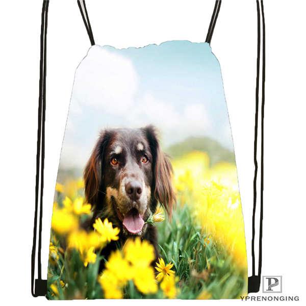 Custom dog with flower romantic rose Drawstring Backpack Bag Cute Daypack Kids Satchel Black Back 31x40cm
