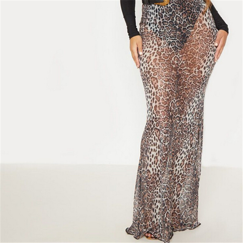 Women Leopard Long Maxi Skirt Elegant Woman Fashion High Waist Casual Slim Fit Skirts New 2020 Ladies Summer Party Pencil Skirt