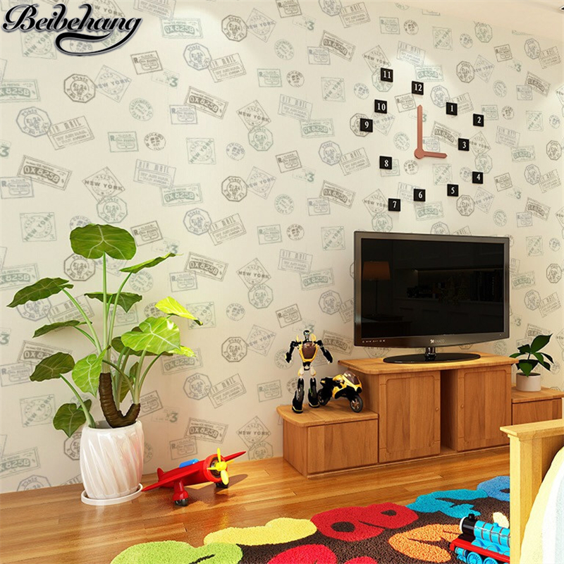 beibehang Retro fashion style English alphabet wallpaper Nordic wind nonwovens wallpaper living room bedroom background wall star wars alphabet style removable wallpaper