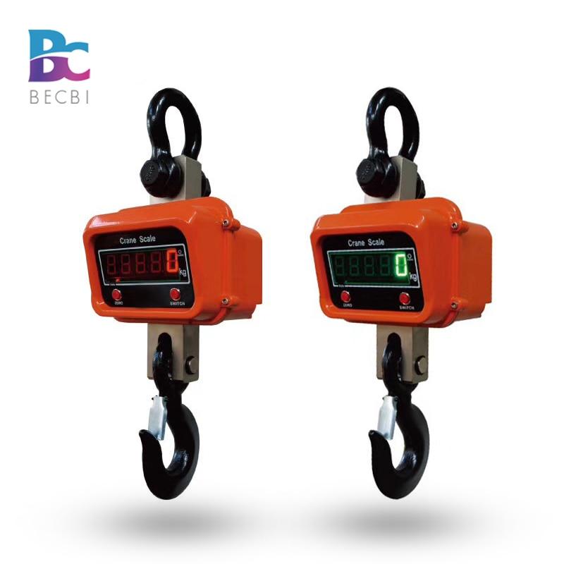 BECBI 3000 kg/1 kg Appeso Industriale Bilancia Digitale OCS Peso Bilancia di Precisione LED Rosso Gru Bilancia 3ton In Alluminio caso Ricaricabile
