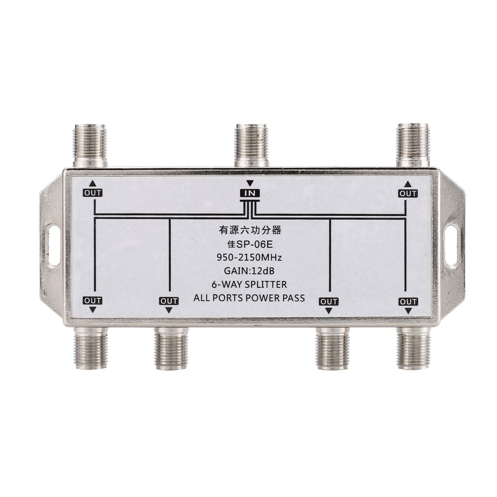 6 way satellite antenna cable tv signal splitter distributor for satv catv 950 2150mhz [ 1010 x 1010 Pixel ]