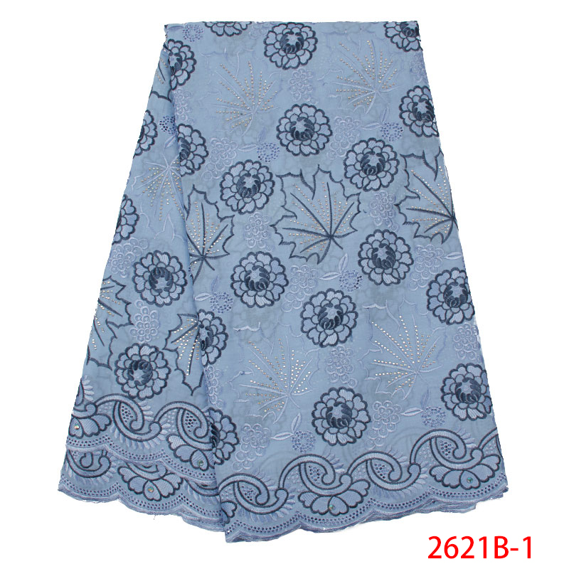 2019 Latest Design Swiss Voile With Stones Emboridery Cotton African Dry Cotton Lace Fabric  Nigerian Voile Lace KS2621B-1