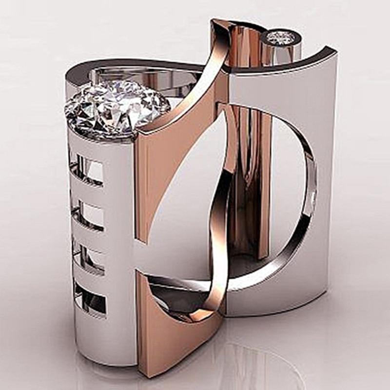 Einzigartige Stil Weibliche Marke Big-Finger-Ring Luxus Silber Rose Gold Farbe Engagement Ring Vintage Hochzeit Ringe Für Frauen bijoux