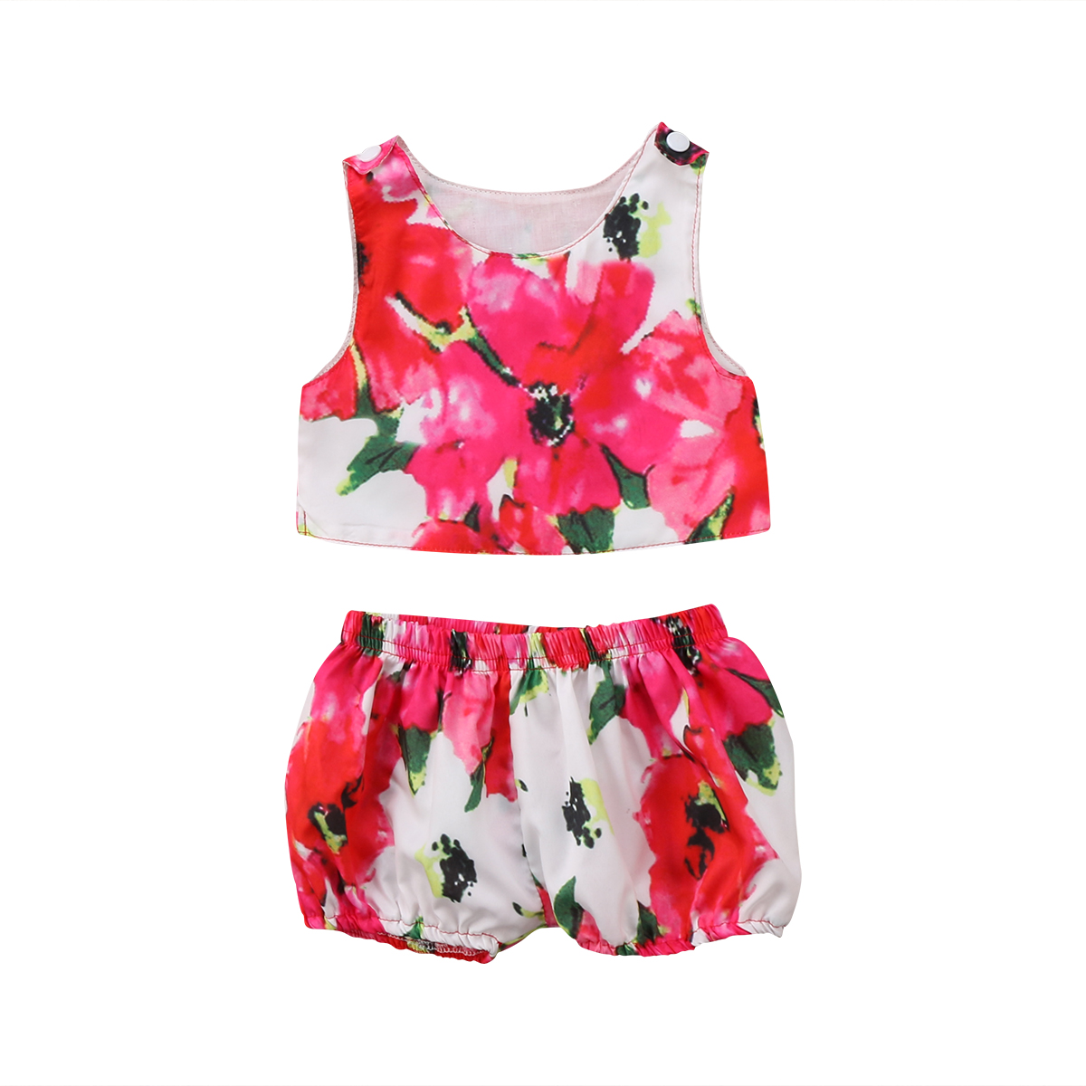 Floral 2PCS Newborn Toddler Baby Girls Sleeveless Tank T-shirt Tops+ Floral Pants Outfit