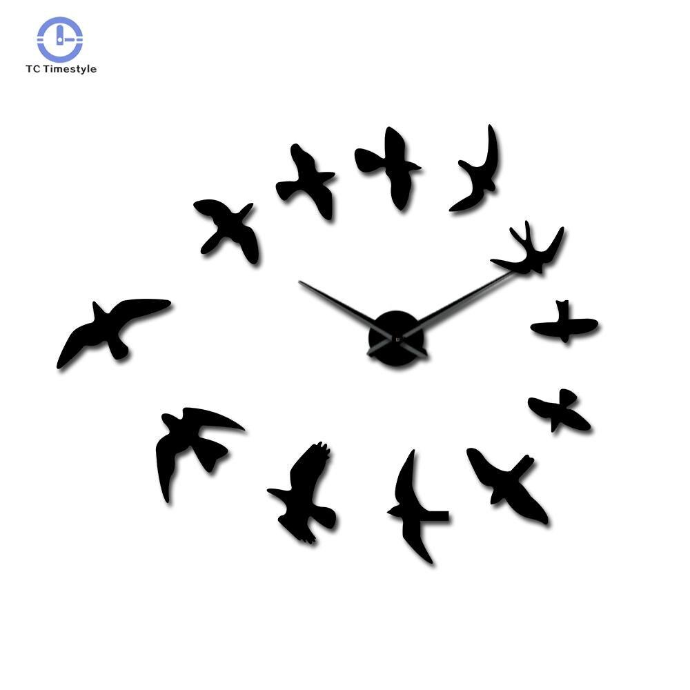 3D Fly Birds Mirror Large Numer Wall Clock Sticker Animal Frameless Diy Giant Wall Clocks Huge Modern Watch Decor
