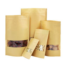 2019 Kraft Paper Bags Window Zipper Food Fruit Tea Gift Bag Self-Sealing Zipper Stand Up Bag 10Pcs Wedding Packaging Recyclable(China)