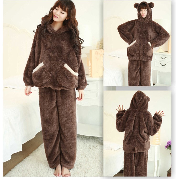 2018 New Autumn Women Flannel   Pajamas     Set   Coral Fleece Bear Hooded   Pajamas   Sleepwear Solid Thickened Warm Pyjamas   Sets