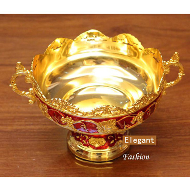 Nouveau Brillant D'or Plaqué Fruits Plat Avec Poignée Assiette À Dessert doux Plats Époxy Fruits Rack Plaques Pour Le Mariage Ou Partie 21X15X8 CM - 3