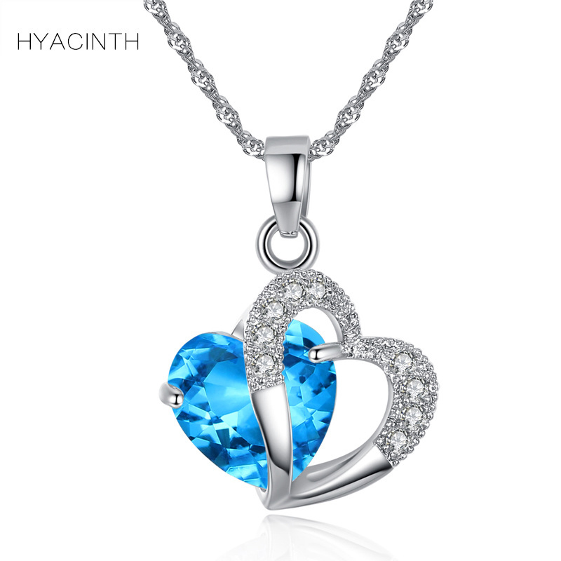 HYACINTH Elegant Shining Crystal Hollow Heart Pendant Necklace Fashion Blue Stone Heart Necklace Jewelry Wedding Party Accessory elegant shining crystal alloy bracelet