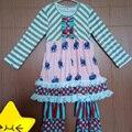 Boutique de mostaza Pie Toddler Girls Ruffle equipos lindos impresa encima de los animales Stripes Ruffle pantalones niños Boutique ropa BT065