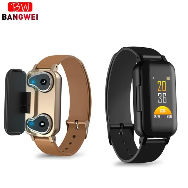 LIGE TWS Binaural fone de Ouvido Bluetooth Inteligente relógio Pedômetro Monitor De Freqüência Cardíaca Relógio Do Esporte Das Mulheres Dos Homens de Fitness Para Android ios + caixa