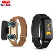 ליגע TWS חכם Binaural Bluetooth אוזניות כושר שעון קצב לב צג מד צעדים ספורט שעונים גברים נשים עבור אנדרואיד ios + תיבה