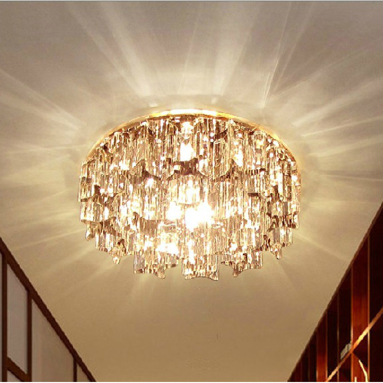 Modern Small Crystal Living Room Corridor Ceiling Lights Bedroom Semi Flush Mounted Crystal Ceiling Lamp