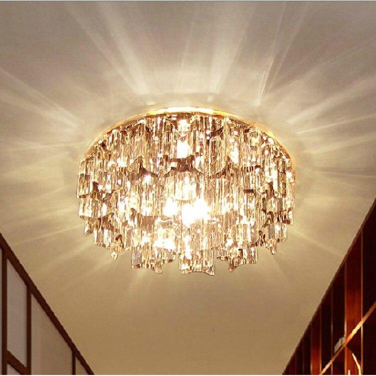 Modern Small Crystal Living Room Corridor Ceiling Lights Bedroom Semi Flush Mounted Lamp