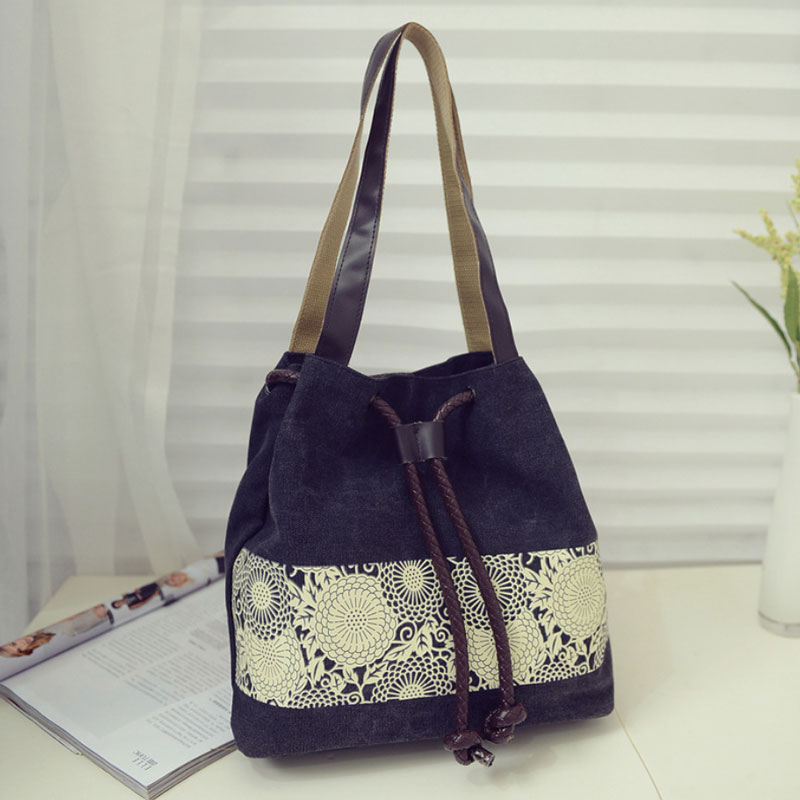 Canvas Drawstring Bucket Bag Chains Shoulder Handbags Women's Vintage Messenger Bags Bolsa Feminina5087/O