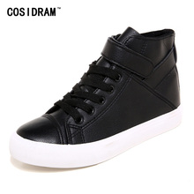 PU Leather High Top Women Casual Shoes Spring Autumn Vulcanize Women Shoes Rubber Sole Fashion Female Footwear Ladies SNE-917