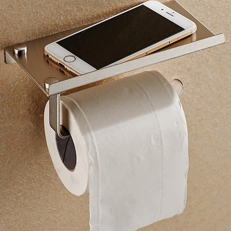 Bathroom Toilet Roll Paper Holder Wall Mount Stainless Steel Bathroom WC Paper Phone Holder Tissue Boxes With Storage Shelf Rack