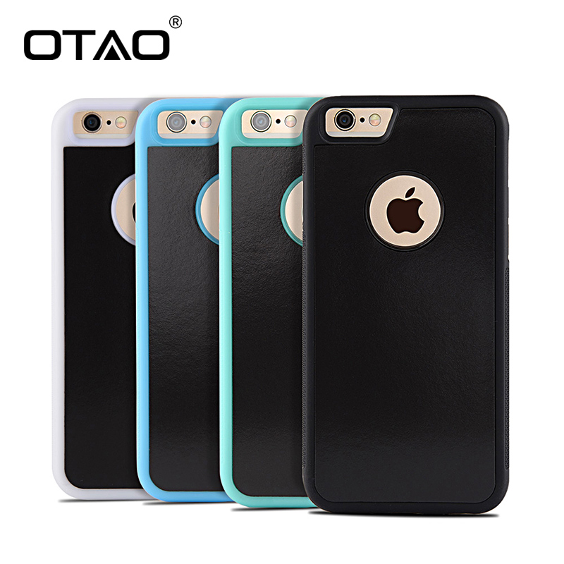OTAO Anti Gravity Phone Bag Case para iPhone X 8 7 6S Plus Antigravity TPU Frame Magical Nano Suction Cover Adsorbed Car Case