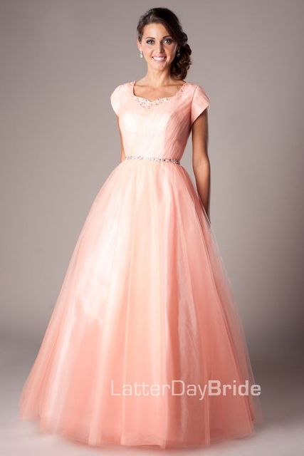 8505bd3daa Coral Tulle Ball Gown Modest Prom Dresses With Cap Sleeves Long Floor  Length Crystals Simple Teen Modest Prom Party Dresses 2016-in Prom Dresses  from ...