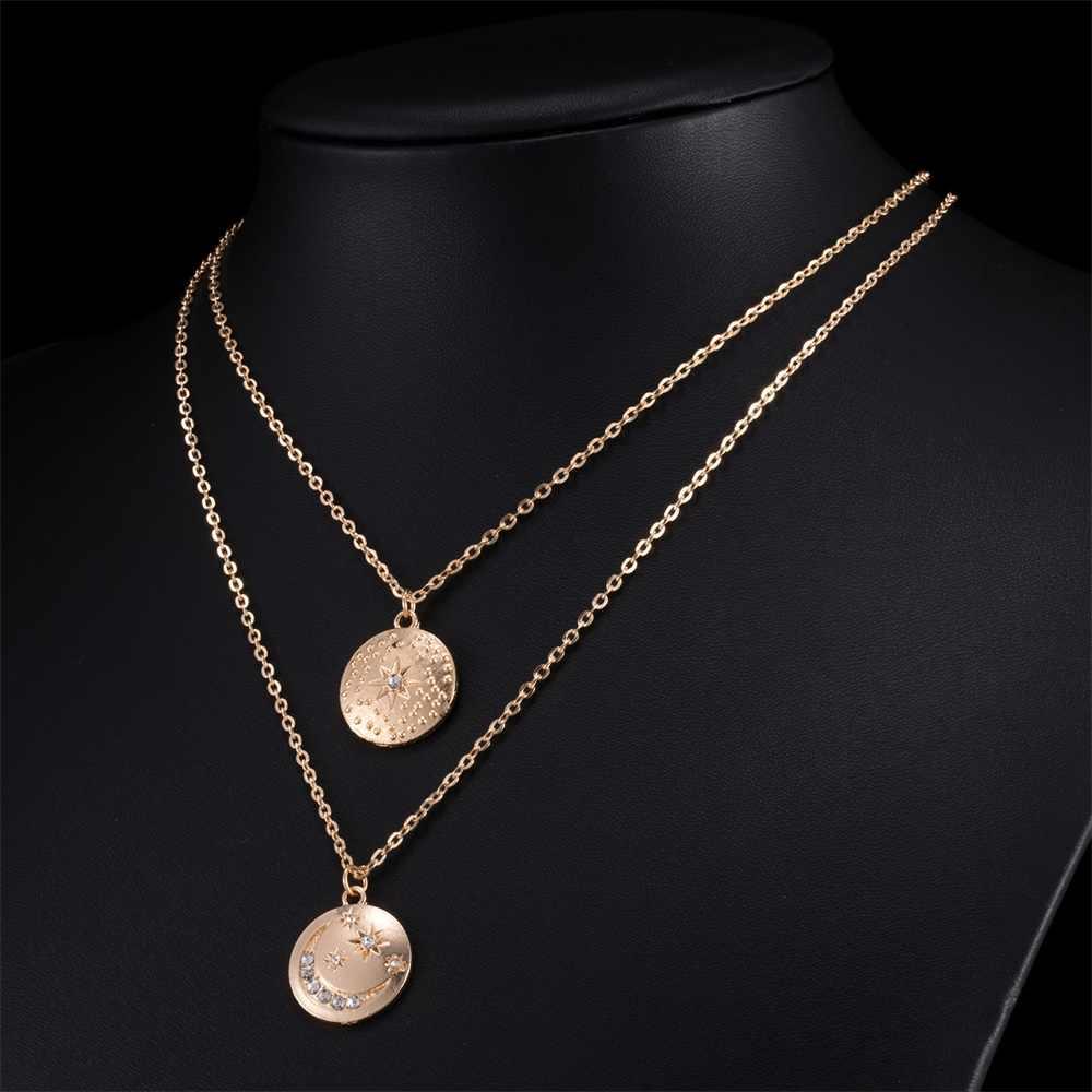 Boho כוכב ירח תליון שרשרת כפולה שכבות קריסטל שרשרת זהב שרשרת קולר מטבע שרשרת נשים אביזרי קולייר Femme