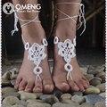 OMENG corda artesanal Crochê Sandálias Descalças Tornozeleira sexy sandália casamento de praia Beach Wear Yoga Mittens Tornozeleira OJL009