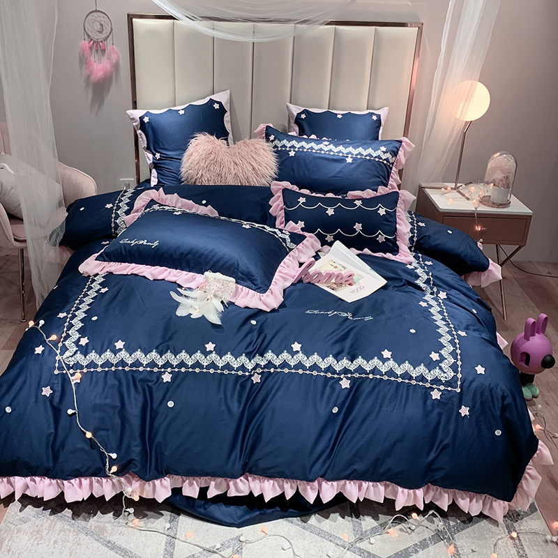 Luxury Egyptian Cotton starry night Bedding Set Embroidery Ruffles Duvet Cover Sets Bed Sheet Pillowcases Queen King Size 4/6/7PLuxury Egyptian Cotton starry night Bedding Set Embroidery Ruffles Duvet Cover Sets Bed Sheet Pillowcases Queen King Size 4/6/7P