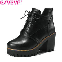ESVEVA 2018 Women Boots Short Plush Handmade Square High Heel Ankle Boots PU Leather Western Style