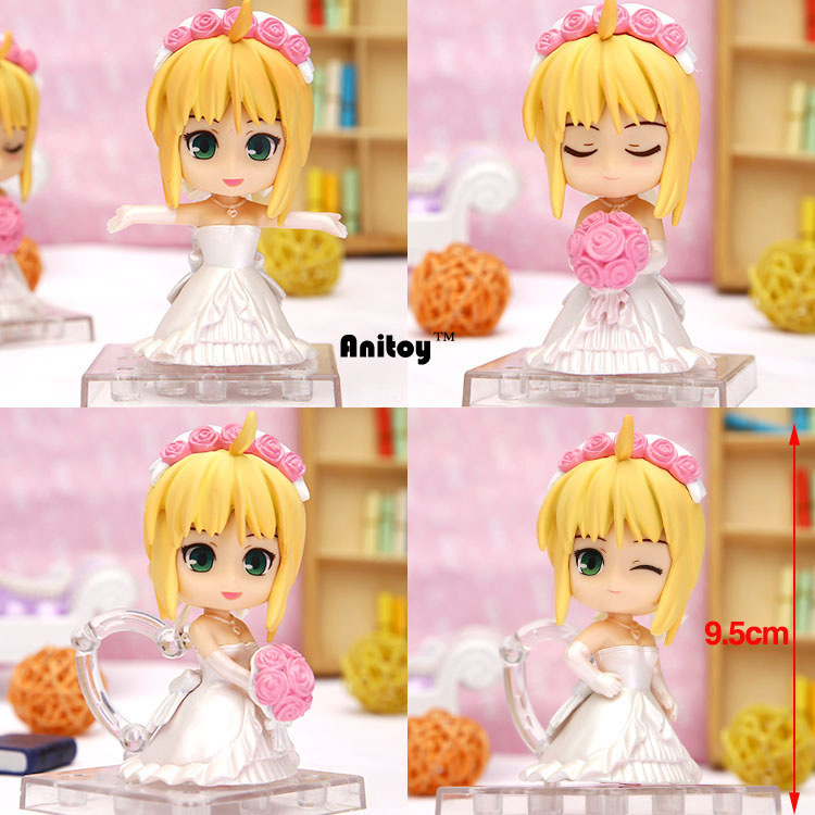 4pcs/set Anime Fate stay Night Saber Lily Wedding Dress Q Version PVC Action Figures Collectible Model Toys 9.5cm KT059