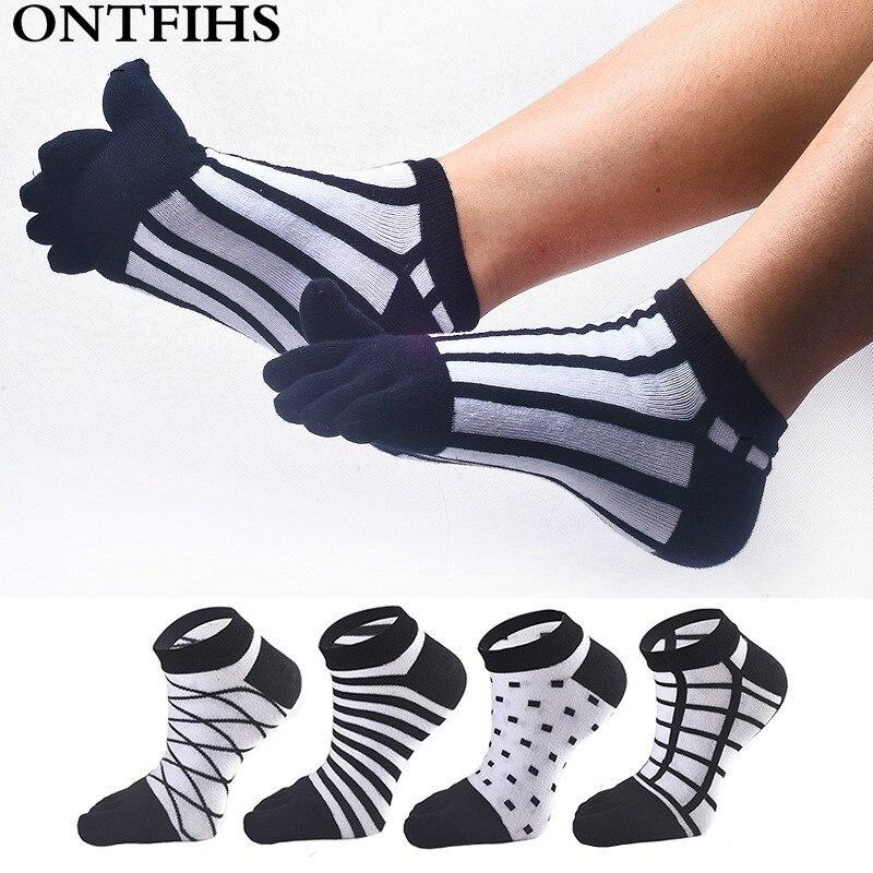 3 pairs/lot Combed Cotton Mens Socks Male Fashion Short Ankle Socks Men Casual Five Finger Meias Toe Socks T-35