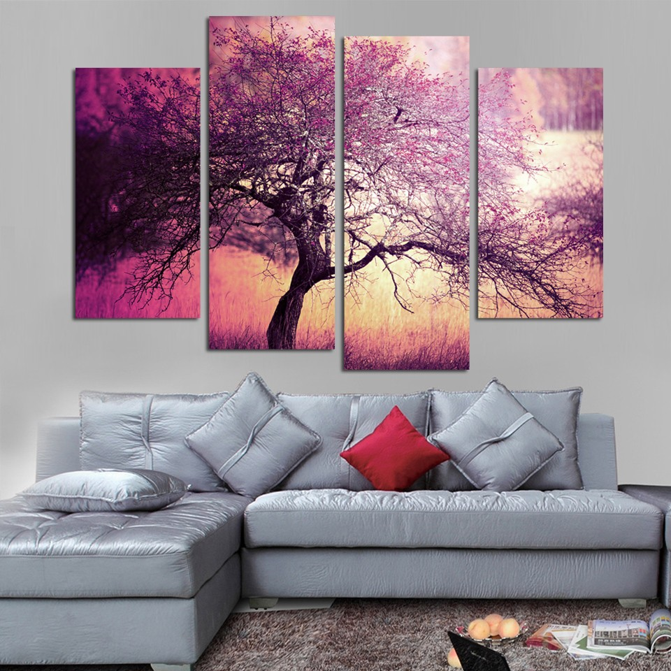 Purple And Yellow Kitchen Wall Art Unframed Kitchen: 4 Pieces Unframed Romantic Purple Tree Scenery Canvas