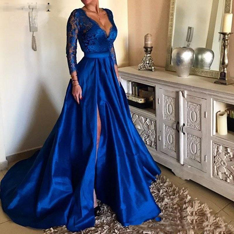 2019 Royal Blue Plus Size   Prom     Dresses   V Neck Lace Appliques Long Sleeve Front Split Formal Evening   Dresses   Party Gowns