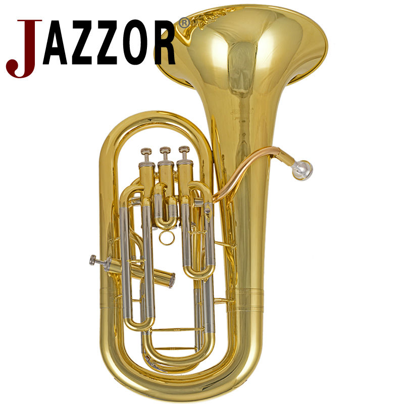 JAZZOR JBEP-1142 Professional Euphonium B Flat Gold Lacquer Brass wind instrument with mouthpiece and case bb f tenor trombone lacquer brass body with plastic case and mouthpiece musical instruments