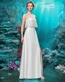 Joky Quaon 2017 Listagem do Novo Design Praia Vestido de Casamento Do Laço Cabeçada Sem Encosto Sem Mangas Saia de Fenda Custom Fit Sexy vestido de Noiva