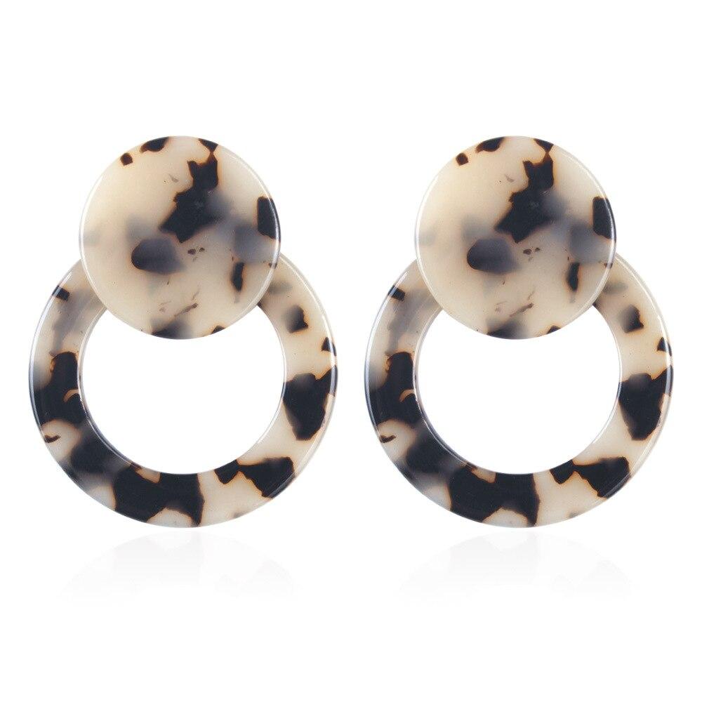 4X4 8cm Acetic Acid Drop Earrings Women Statement Earrings Round Leopard Dangle Earrings Lady Fashion Jewelry Charm Eardrop in Drop Earrings from Jewelry Accessories
