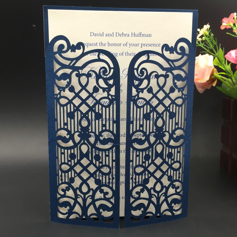 12pc Navy blue color Gate Fold Laser Cut Wedding Invitation Cards Christmas Cards Business invitations christmas tree decoration