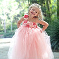 Gorgeous Peach pink tulle Flower Girl Dress 2017 With Coral Pink Peals Flower Floor Length Girl Tutu Dress for Wedding Party