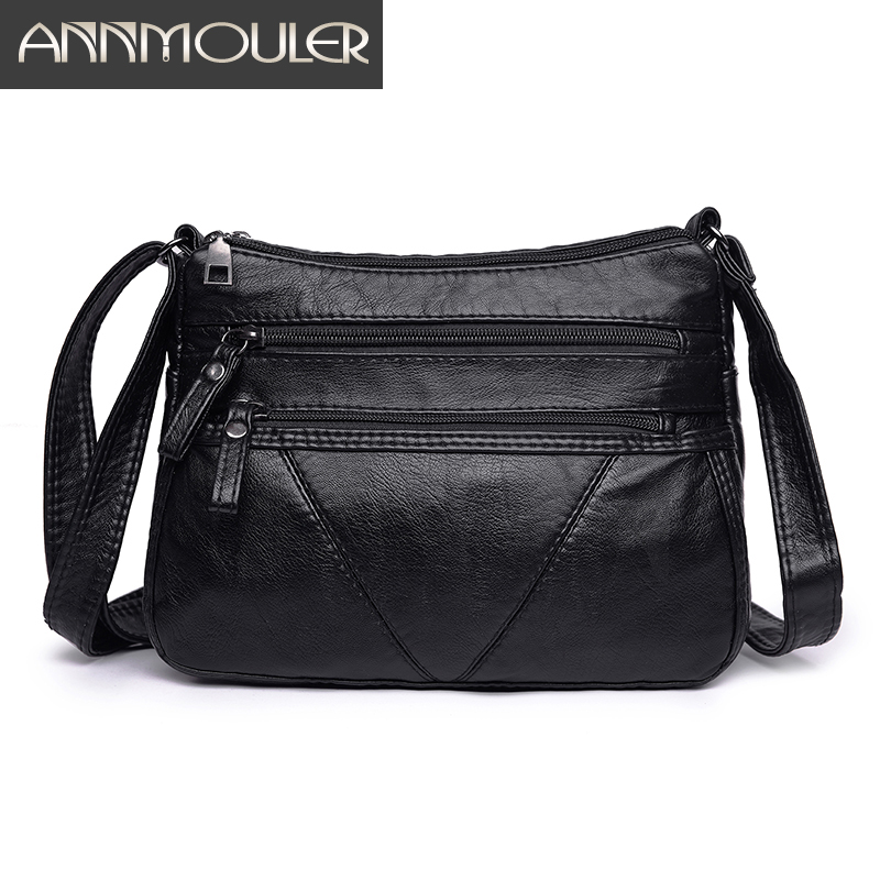 Annmouler Women Fashion Soft Bag Pu Leather Shoulder Bag Black Washed Leather Crossbody Bag Ladies Purse Handbag Small Bag