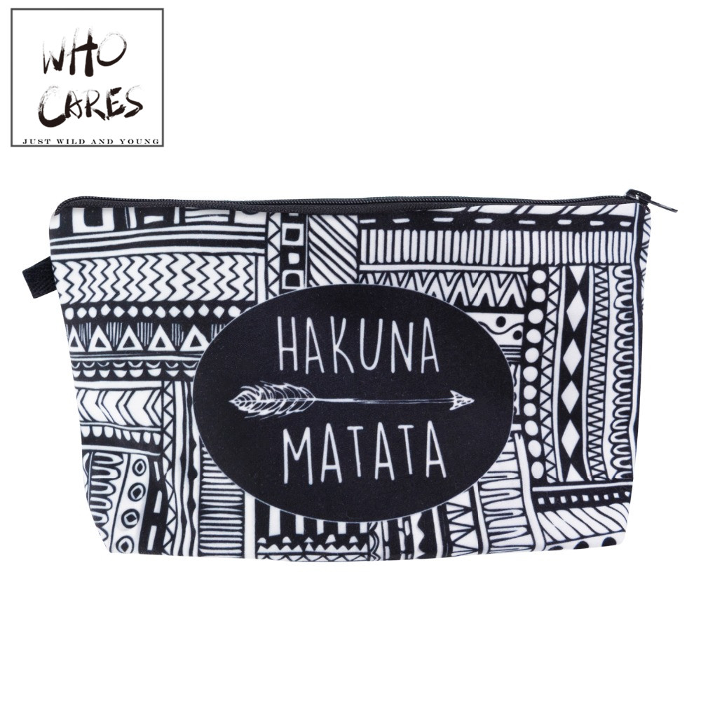 HAKUNA MATATA Portable Type Make up Bags Cosmetic Case Maleta de Maquiagem Bags Storage Travel Makeup Bag Brand Pencil case cosmetic bags kawaii cartoon pencil pen case cosmetic makeup bag zipper travel pouch case large contain bags mala de maquiagem 2