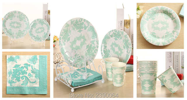 Wholesale 1000pcs Disposable Party Tableware Tiffany Blue Paper Plate Cup Napkin for u0027Blind Dateu0027  sc 1 st  AliExpress.com & Wholesale 1000pcs Disposable Party Tableware Tiffany Blue Paper ...