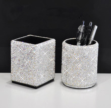 Pen holder leather with crystals Office pen desk organizer Stationery Holder Storage Holders tabletop decoration