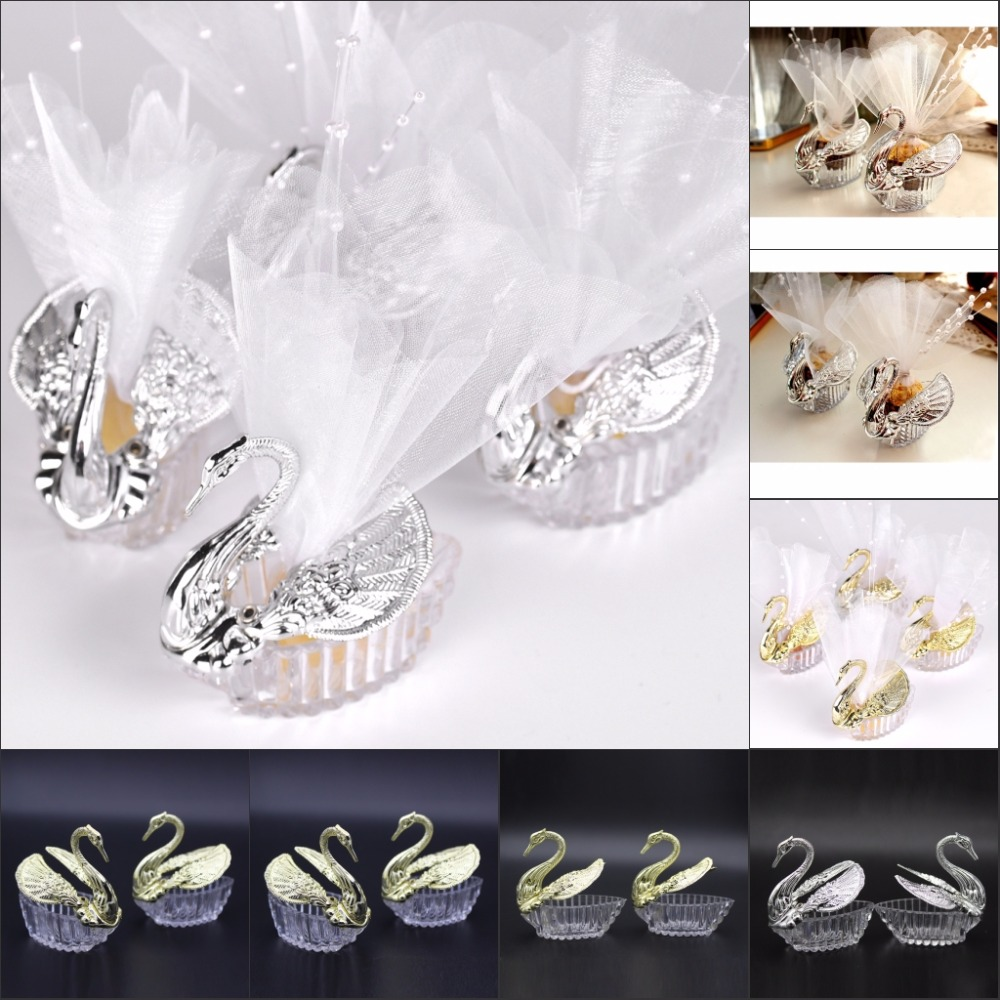 100 Pieces Acrylic Wedding Favor Swan Box Bomboniere Candy Box Gift Boxes