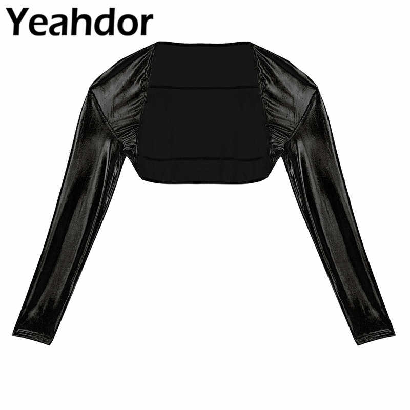 Long Sleeves Wrap Women Shiny Metallic Open Front Shrug Bolero Short Crop Cardigan Top for Wedding Party Dresses Performance
